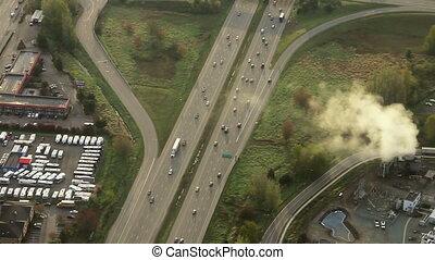 jonction, rue, aérien, autoroute