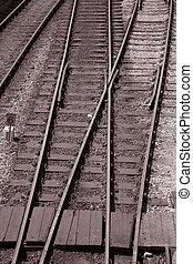 jonction, sépia, noir, tonalité, chemin fer, blanc
