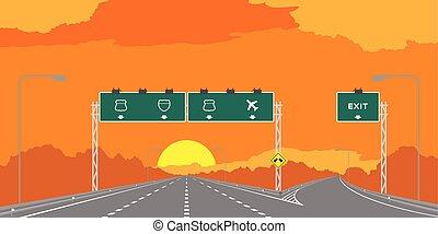 jonction, signage, ciel, isolé, illustration, autoroute, y, surise, arrière-plan vert, temps, orange, coucher soleil, ou, autoroute