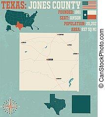 jones, mappa, texas, contea