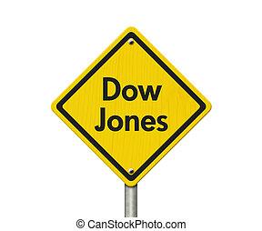 jones, segno giallo, avvertimento, strada, dow, autostrada