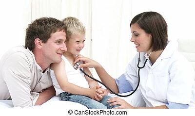 jong kind, op, de, ziekenhuis