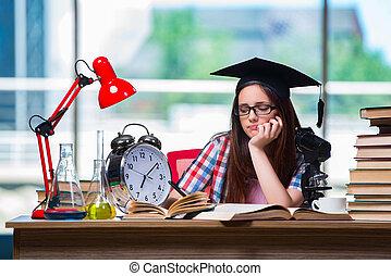 jong meisje, het bereiden, voor, examens, met, groot, klok