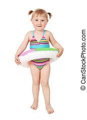 jong meisje, in, badkleding