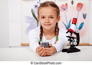 jong meisje, in, biologie klas