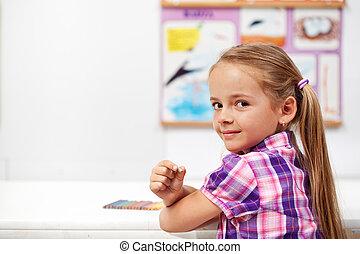 jong meisje, in, wetenschap klas
