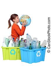 jong meisje, kussende , de, planeet, naast, haar, recycling