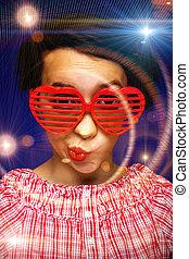 jong meisje, met, gekke , zonnebrillen