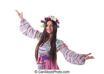 jong meisje, met, guirlande, dans, in, russische , kostuum