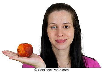 jong meisje, met, perzik