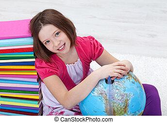 jong meisje, met, studeren, materialen