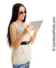jong meisje, met, tablet pc