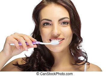 jong meisje, met, tandenborstel