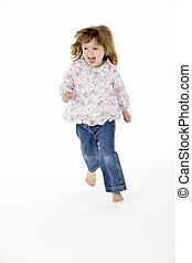 jong meisje, rennende , in, studio