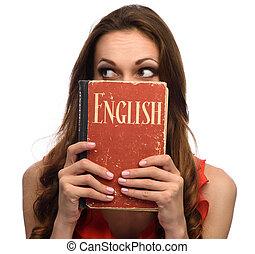 jong meisje, tonen, een, engelse , schoolboek