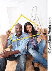 jong paar, aankoop, nieuw huis