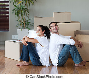 jong paar, bewegend huis