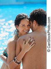 jong paar, doen, honeymoon, in, vakantiepark