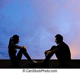 jong paar, gezicht om te confronteren