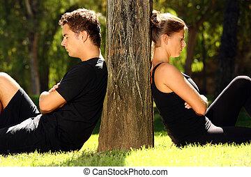 jong paar, hebben, een, probleem