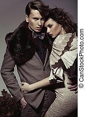 jong paar, het voorstellen, een, herfst, mode