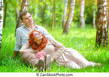 jong paar, in het park