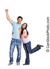jong paar, juichen, aan fototoestel