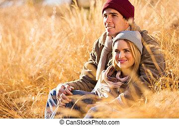 jong paar, romantische, herfst