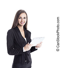 jonge, aantrekkelijk, succesvolle , handel jonkvrouw, ontdekkingsreis, samenwerking, gebruik, de, tablet