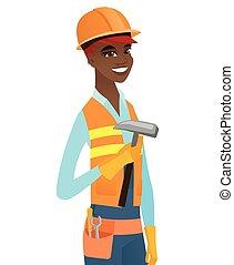 jonge, afrikaans-amerikaan, timmerman, vasthouden, hammer.