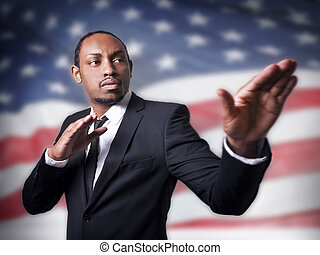 jonge, afrikaanse amerikaan, kerel, en, een, vlag