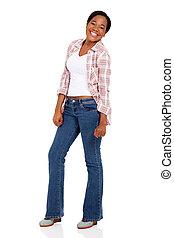 jonge, afrikaanse vrouw, lachen