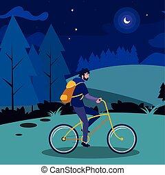 jonge, akker, fiets, ontwerp, nacht, paardrijden, man