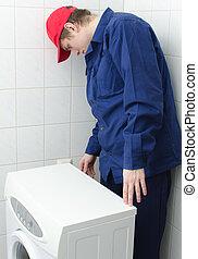 jonge, arbeider, herstelling, wasmachine