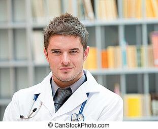 jonge arts, op het werk
