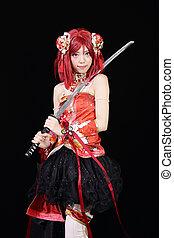 jonge, aziatisch meisje, geklede, cosplay