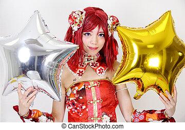 jonge, aziatisch meisje, geklede, in, cosplay