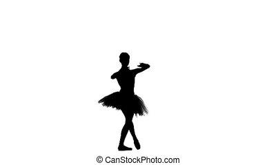 jonge, ballerina, danser, in, tutu, het tonen, haar,...