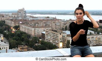 jonge, beauty, vrouw, in, interview