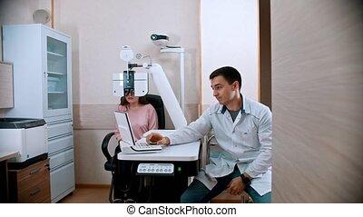 jonge, behandeling, uitrusting, -, visueel, optometric,...