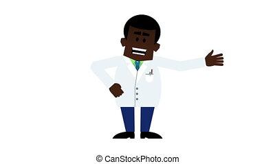 jonge, black , professor, het verklaren, en, het spreken., loopable, spotprent, animatie, incluis, alfa, matte.