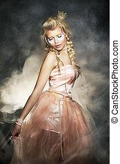jonge, blonde, vrouw, in, classieke, retro, dress., romantische, dame
