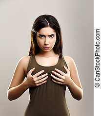 jonge, boobs, kleine, vrouw