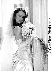 jonge, bruid, vasthouden, bouquetten