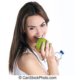 jonge, brunette, vrouw, met, groene appel