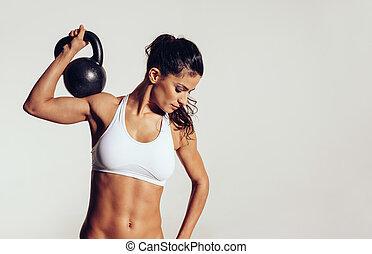 jonge, crossfit, aantrekkelijk, workout