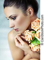 jonge dame, het behouden, rozen