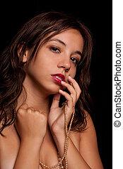 jonge dame, met, juwelen