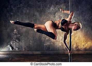 jonge, dans, pool, vrouw