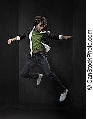 jonge, danser, kavels, van, copyspace